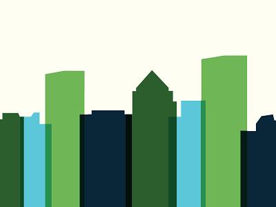 Rochester City Skyline - Fast Forward Film Festival rochester ny film festival blue green graphics overlay skyline rochester