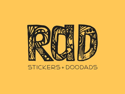 RAD Doodads Logo black yellow logo hand drawn pattern lettering hand lettering