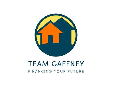 Team Gaffney Logo yellow orange blue symbol logo icon house
