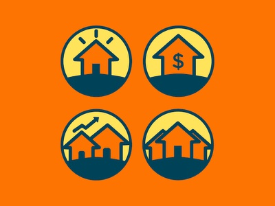Team Gaffney Icons circle blue yellow orange logo mortgage house home icons
