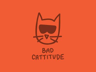 Bad Cattitude pun illustration cat orange