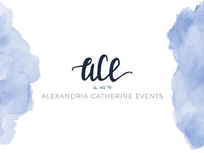 Alexandria Catherine Events Logo elegant blue symbols logo watercolor script