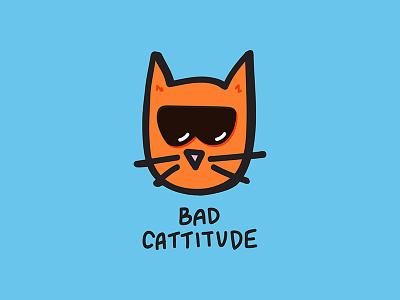 Bad Cattitude blue orange kitties kittens cats kitty mean sunglasses bad ass bad attitude illustration cat