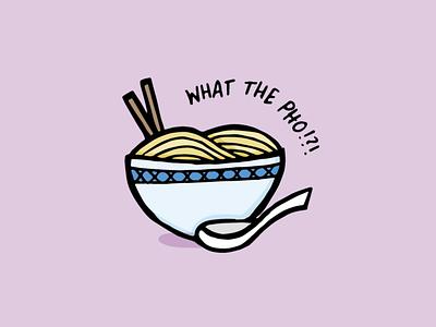 What the Pho!?! funny cute pun what the fuck food pun noodles purple vector illustration digital illustration pho noddle soup pho