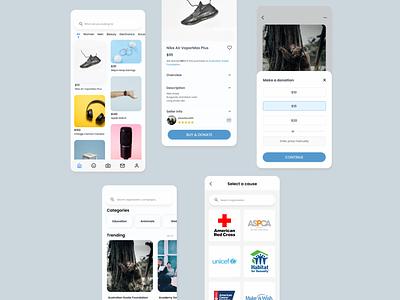 Shopping + Donation platform ui figma mobile shopping donation design