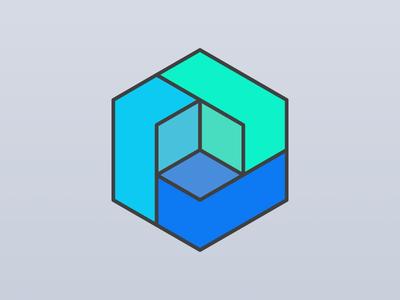 Three blocks make a logo icon branding logo