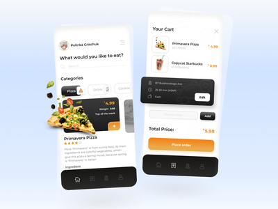 Delivery Food App mobile app learning ux vector design minimal mobile app food