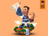Voltes V Themed Caricature Mascot Illustration