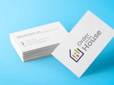 Clean Business Cards, Order in the House simple modern clean business card illustrator font type text nc raleigh graphic design brand design