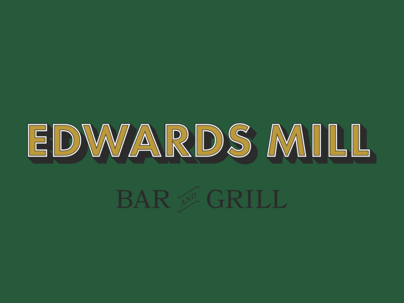 Edwards Mill Bar And Grill - Full logo lockup brand design logo design font type graphic design identity design logotype raleigh nc southern brand logo