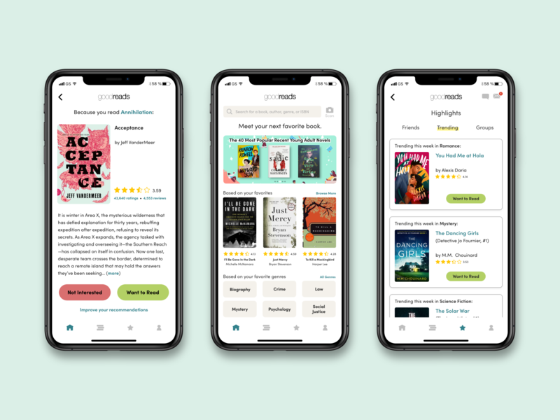 Goodreads Redesign Concept ui ux bookshelf app design book ios goodreads redesign