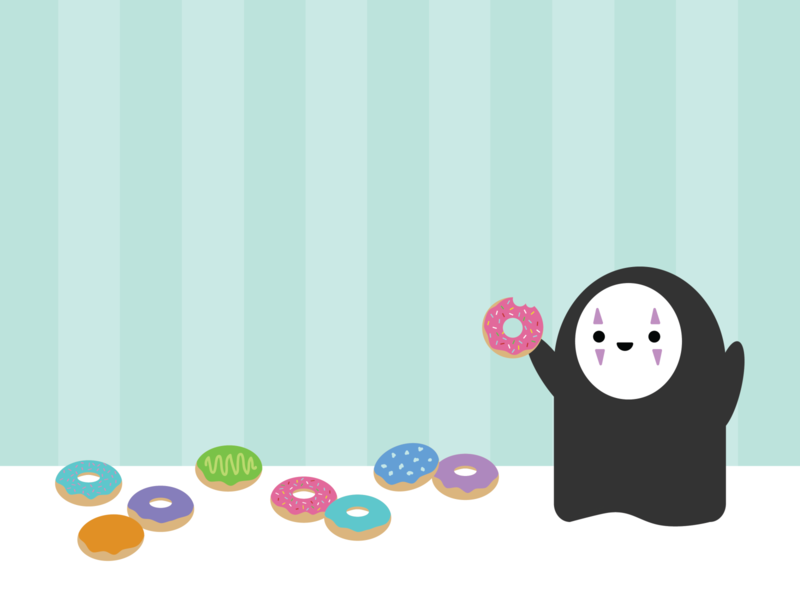 The Donut Shop / Spirited Away kaonashi flat cute hayao miyazaki ghibli studio ghibli adobe illustrator no face spirited away donuts
