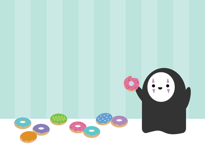 The Donut Shop / Spirited Away kaonashi flat cute hayao miyazaki ghibli studio ghibli adobe illustrator no face spirited away donuts