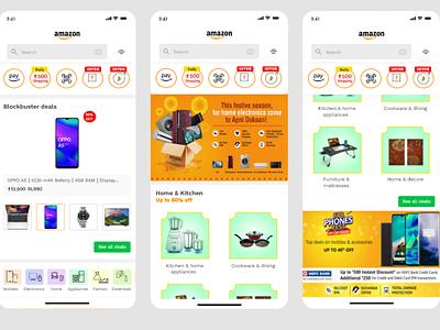 Amazon app Home screen Redesign amazon app redesign ui design ux design adobe photoshop app design amazon app adobexd adobe