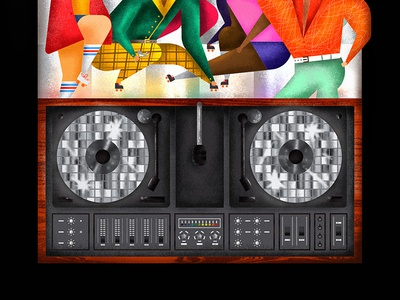 New Year Fever  music vector new years vinyl dancing discoball turntable record 70s illustration disco