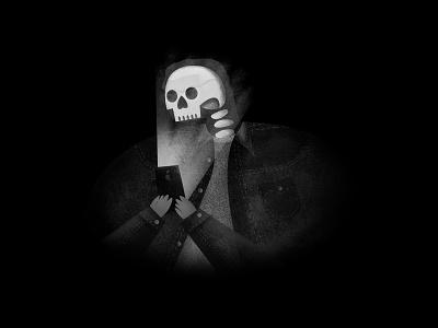 Incoming Call icon color ui phone fall bones skeleton halloween logo design black illustration editorial vector nyc portrait