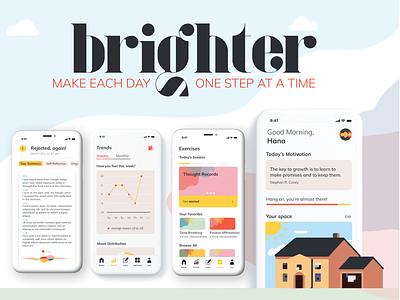 """brighter""  Look Book app therapy mindfulness user interface design uidesign uiux ui design"