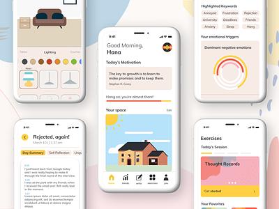 """brighter"" Mockups uxdesign mockup app ux ui user interface design therapy mindfulness uidesign design"
