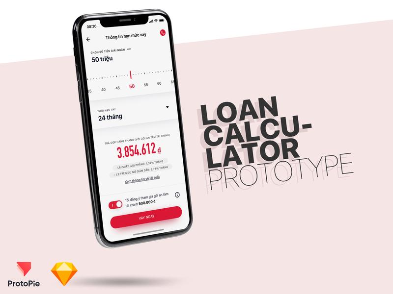 Loans Calculator v2 - Protopie link included fintech cash loan calculator ui calculator calculate ux ios ui finance app prototyping protopie loan calculator