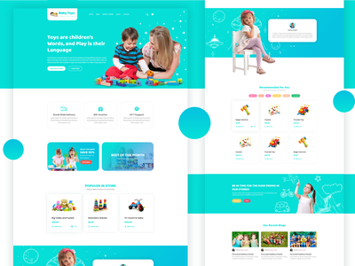 BabyToys | Modern EyeCatching Template for Baby Toys Website toy shop website template uidesign templatedesign baby clothes toys baby toy