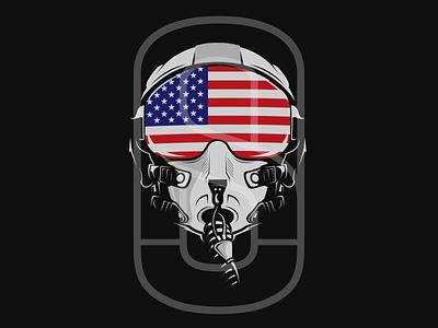 fighter jet helmet art branding illustrator flat animation design vector logo illustration icon