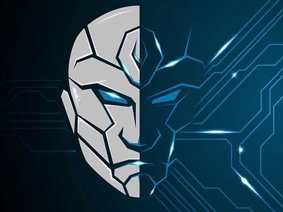 robots and advanced technology type branding design animation vector logo illustration icon