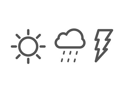 Weather icon rain cloud sun lightning weather