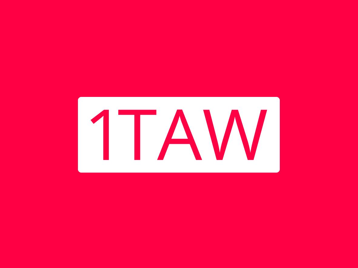 1 Thing A Week logo white pink abbreviation one logo