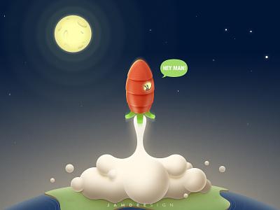Towards the Moon | 奔月 carrot rabbit earth moon rocket illustration