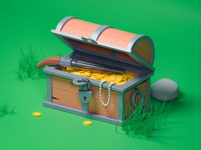 Coin Chest pearl gun 3d chest coin chest coins