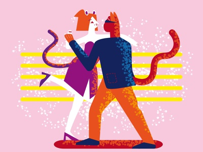 Dancing cat and mouse woman animal man girl boy vector texture style shape illustration flat characters 2d