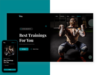 Fitness Web ux ui website design header hero web app fitness