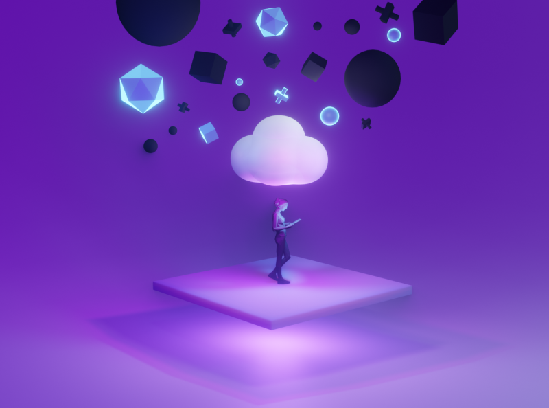 Cloud Illustration Concept glow product illustration 3d illustration