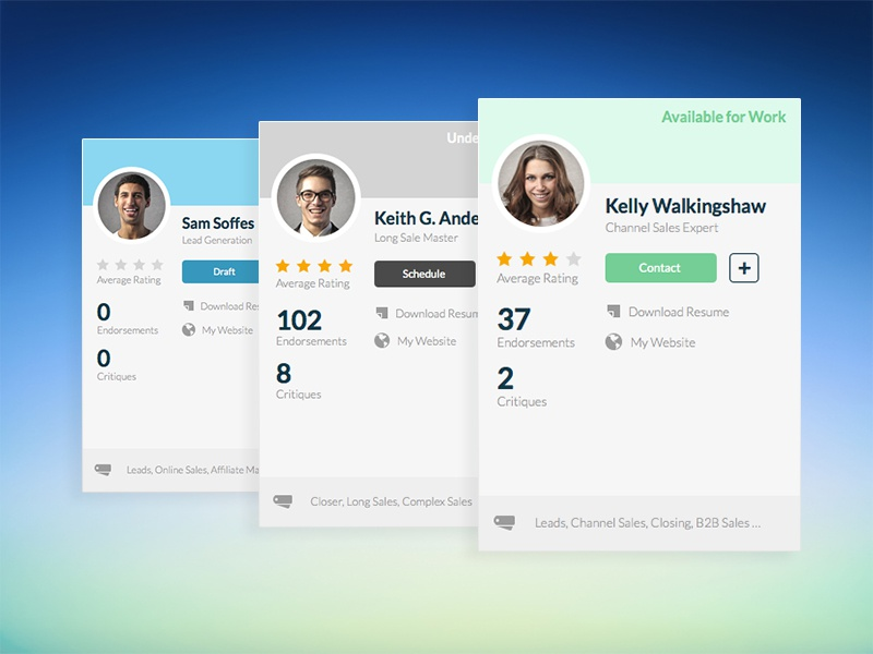 Quotadeck UI - Salesperson Cards ui ux interface card profile stats dashboard