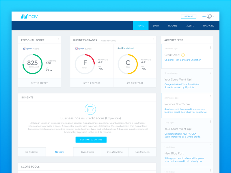 Nav Dashboard ui ux swiss card layout credit score credit nav dashboard