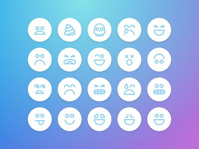 Nav Emoji Icons worried skull illustration icon happy sad poop emojis