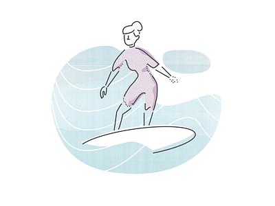 "Illustration Experiment 2 ""Surf"" product illustration waves woman surfing textured illustration"