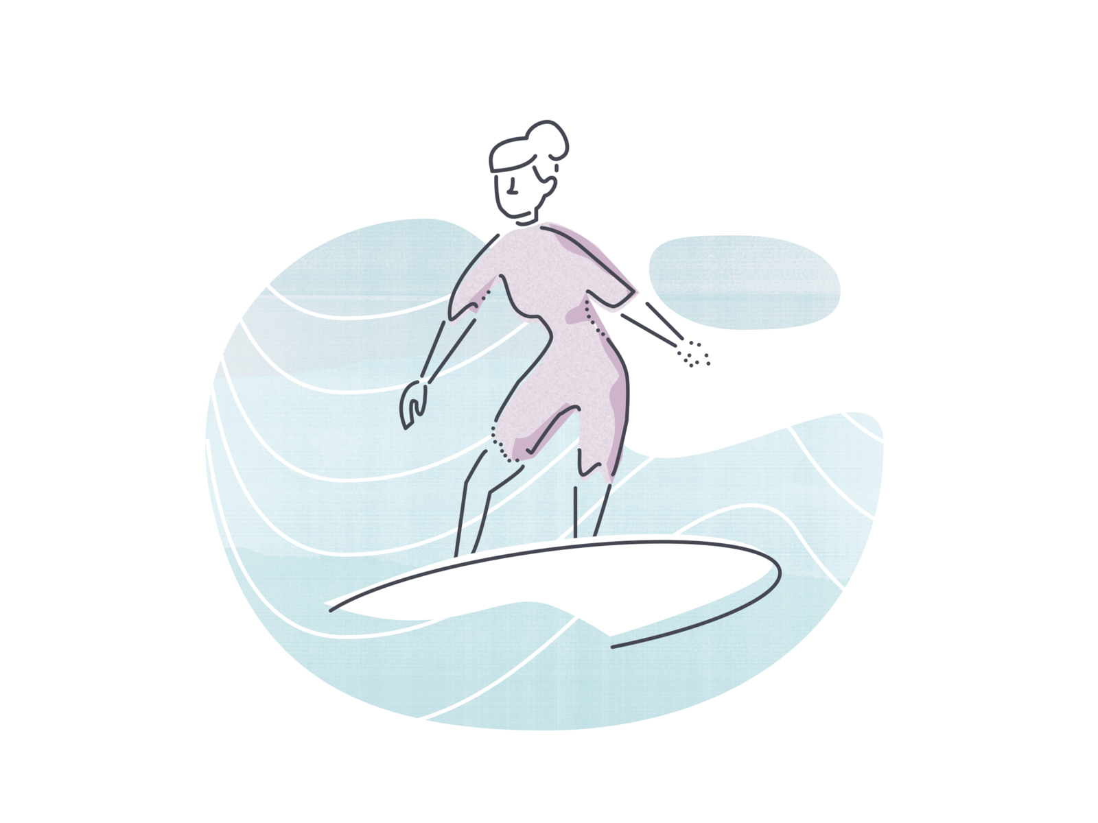 "Illustration Experiment 2 ""Surf"" product illustration waves woman surfing textured illustration"
