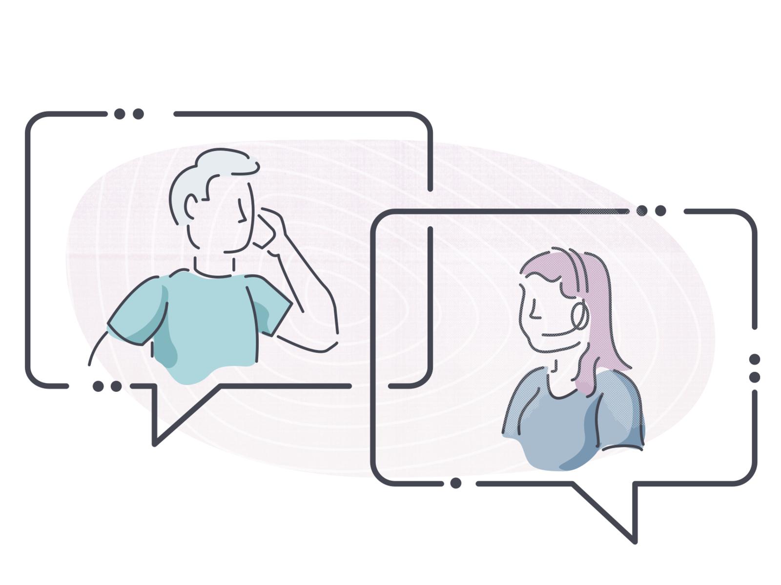 "Illustration Experiment 3 ""Contact Us"" man woman conversation support customer support call center jenks seth illustation"