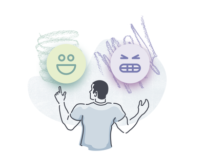 "Illustration Experiment 5 ""Review"" frustrated happy product illustration illustration review emoji"