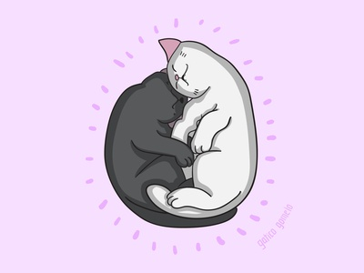 Cats sleeping in love