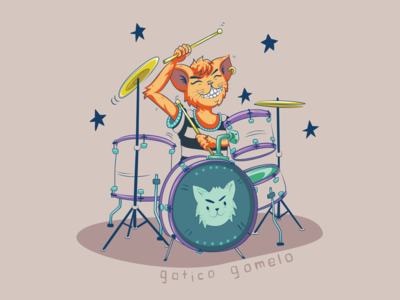 Punk rock cat playing the drums