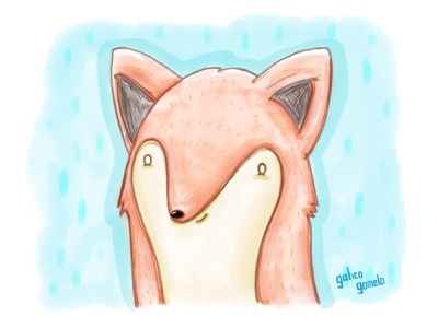 Watercolor (not really) fox art drawing illustration adobe kawaii cute animals photoshop sketchbook kids children watercolor fox