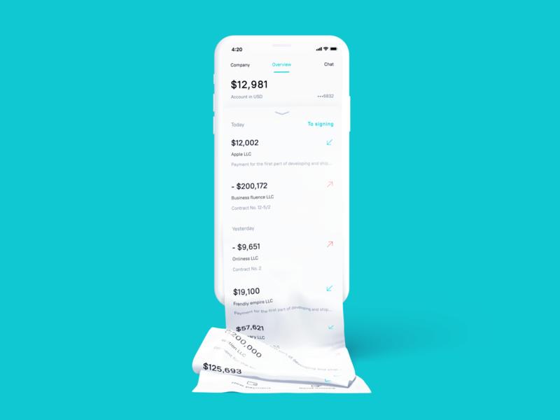 Business Bank app UI main page