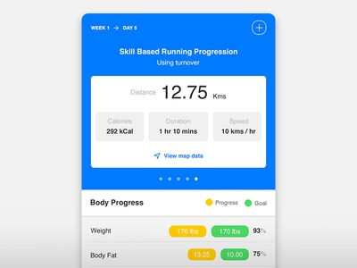 Fitness app :  workout detail experience design android ios health goal progress live data fitness ux ui