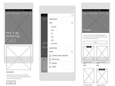 Bec + Bridge Mobile Wireframes shopify ecommerce design wireframes ui designer lead designer visual designer ux senior designer creative director