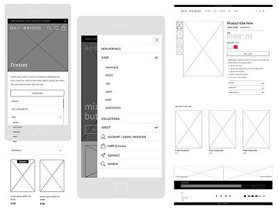 Bec Bridge Wireframes shopify e-commerce design wireframes design graphic design creative director digital design ui design ux design