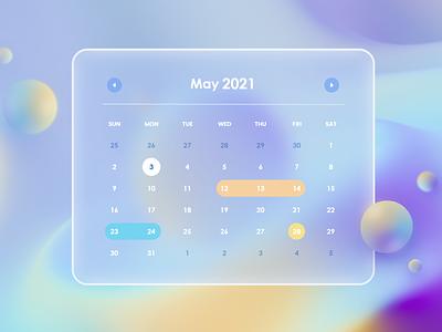 Calendar glassmorphism design ui