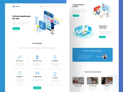 Virtual healthcare web design branding creative typogaphy doctor virtual medical app medical drugs flat illustrations landing page ui ux ui design gradient header