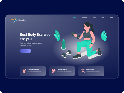 Body Exercise landing page body exercise illustration glassmorphism workout minimal website fitness exercise training yoga gym health landing page homepage design clean whitespace typography ui ux
